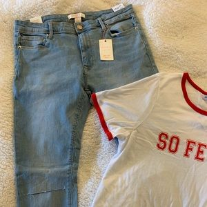 Low rise skinny distressed jeans